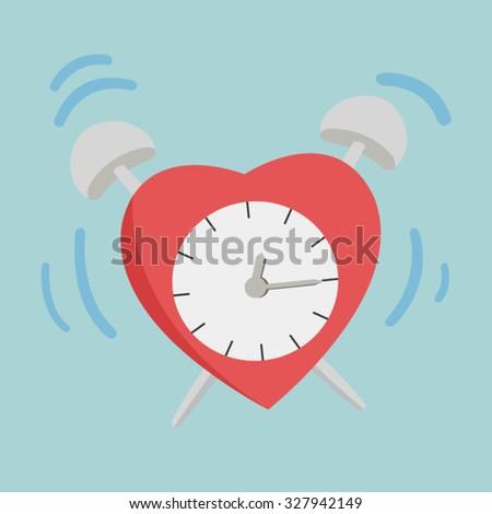 love and Valentine concept flat vector illustration, heart alarm clock - stock vector