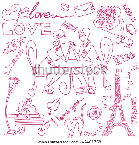 LOVE and Valentine doodles - stock vector