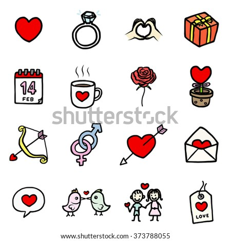love and valentine's objects or icons set/ cartoon vector and illustration, hand drawn style, isolated on white background. - stock vector