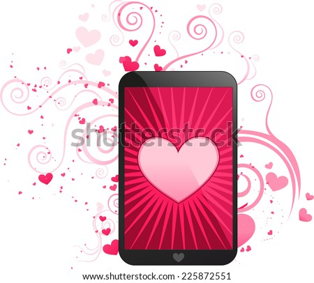 Love app for smart phone, with cute heart shining vector illustration. With hearts in different sizes pattern. - stock vector