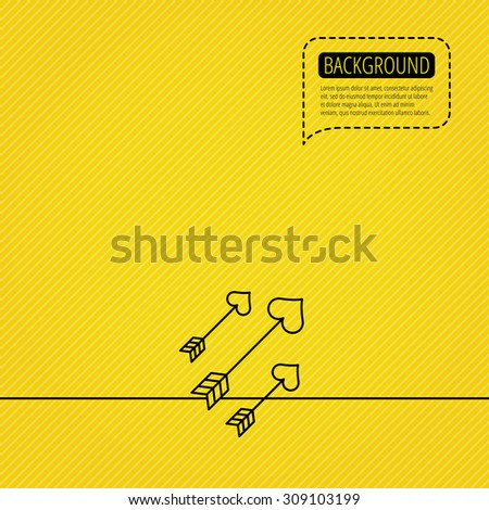 Love arrows icon. Amour equipment sign. Archer weapon with hearts symbol. Speech bubble of dotted line. Orange background. Vector - stock vector