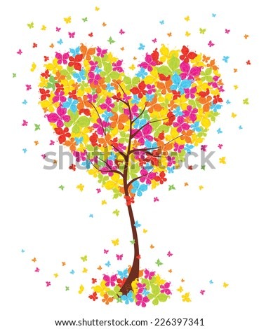 Love art tree heart shape with butterflies on white background. Vector illustration. - stock vector