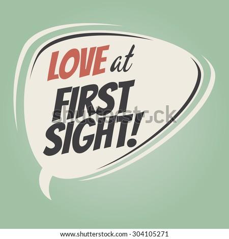 love at first sight retro speech balloon - stock vector