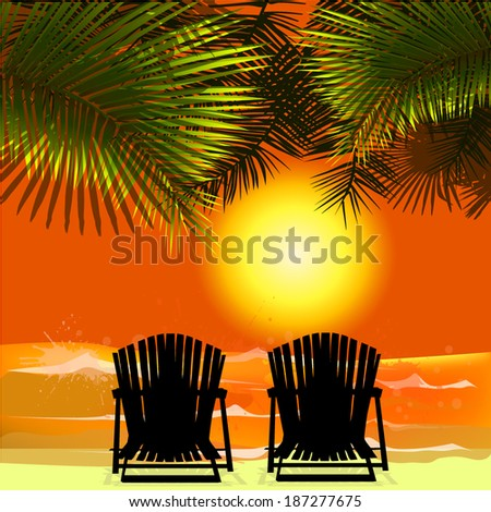 Love at sunset on the sea. Vector - stock vector
