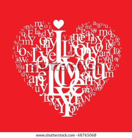 love background - typographic heart shape - stock vector