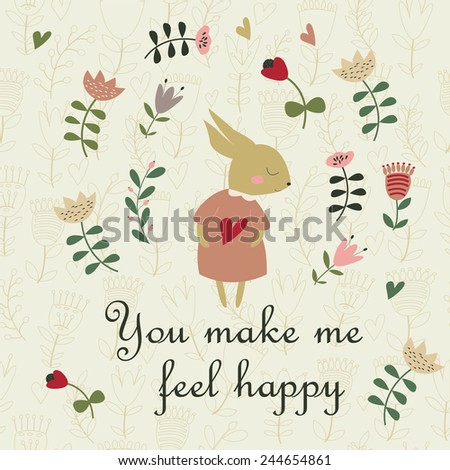 Love background with cute bunny and flowers in cartoon style. You make me feel happy card. Valentine card. - stock vector