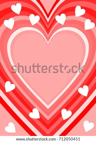 Love background with heart shape, place for own message. Wedding announcement, Valentines day card. Pink, white and red design. vector EPS 10