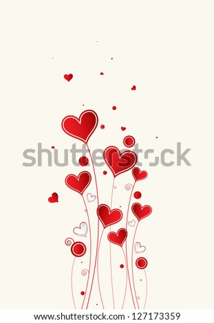 Love background with hearts valentine day card - stock vector