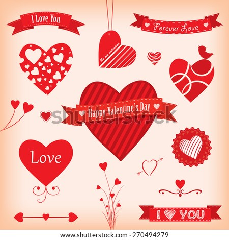 Love Banners and Labels Vector illustration. - stock vector