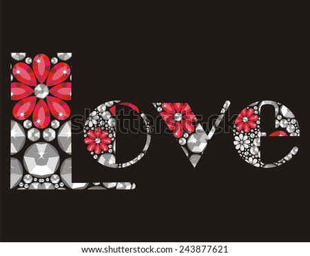 love beautiful inscription of shining crystals, congratulations on Valentine's Day, romance, wedding card - stock vector