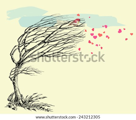 Love bird and tree without leaves in the wind. Valentine's Day card - stock vector