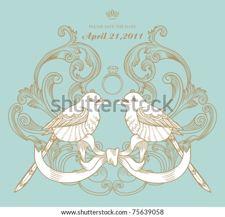 love bird card with ring, best for RSVP wedding card - stock vector