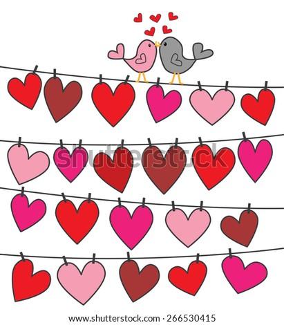 love birds greeting or celebration - stock vector