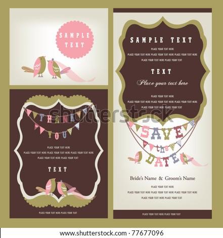 Love birds invitation - stock vector