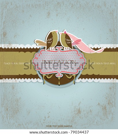 Love birds invitation card - stock vector