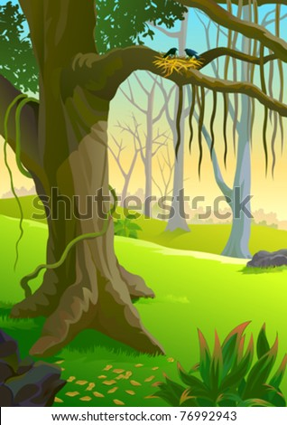 LOVE BIRDS' NEST IN AMAZON FOREST - stock vector