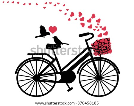 love birds on bicycle - stock vector