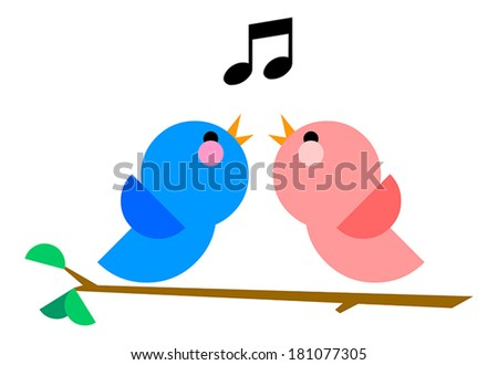 Love Birds Singing Clip Art