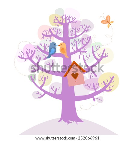 Love birds sits on the tree - stock vector