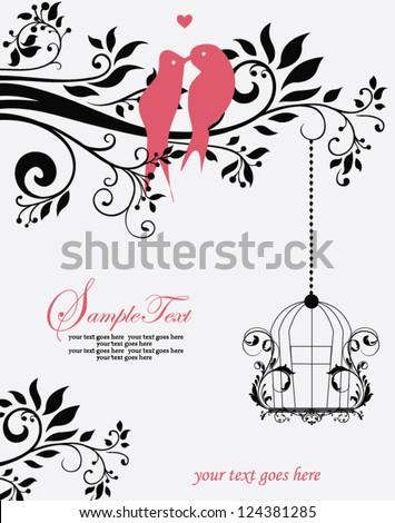 Love Birds Sitting In a Tree Wedding Invitation - stock vector