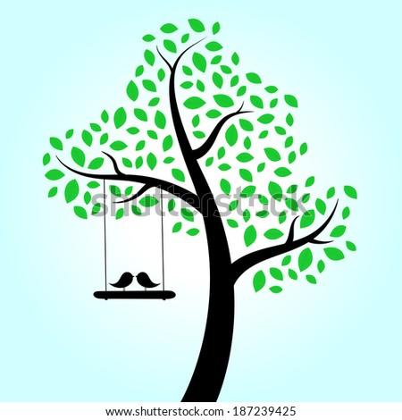 Love birds swinging in tree - stock vector
