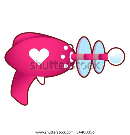Love blaster.  Pink laser raygun vector illustration in retro 1950's style.  Contains heart, love, or relationship icon. - stock vector