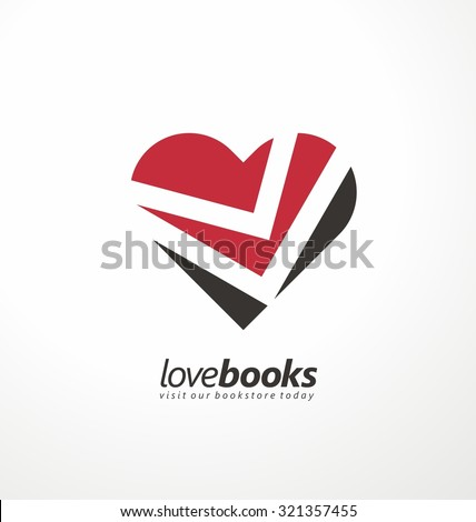 Love books creative symbol concept. Unique logo design idea with heart shape and books in negative space. Icon layout for book store or library. Writing, reading and education theme. - stock vector