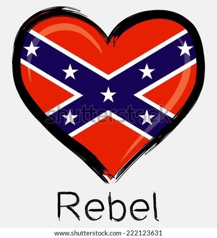 love brush grunge rebel flag - stock vector