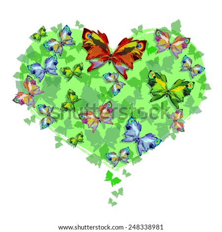 Love butterflies on green heart - Valentine illustration. As design element for motivator, Valentine day card, advertising. Bright butterflies on heart shape. Vector silhouettes. Isolated on white. - stock vector