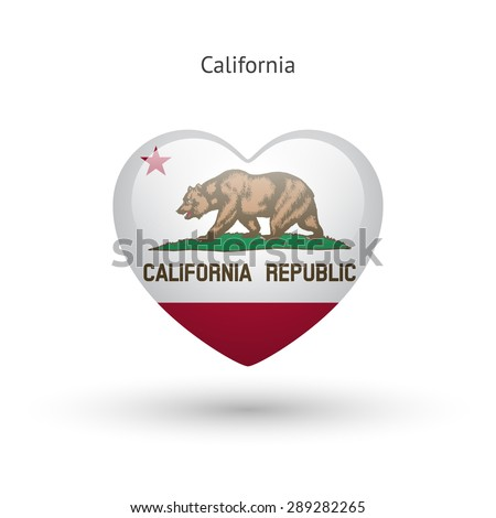 Love California state symbol. Heart flag icon. Vector illustration. - stock vector