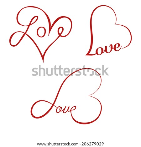 Love calligraphy hearts - stock vector