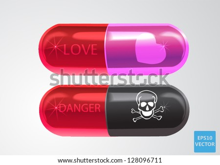 love capsule and poison capsule love pill and danger pill - stock vector