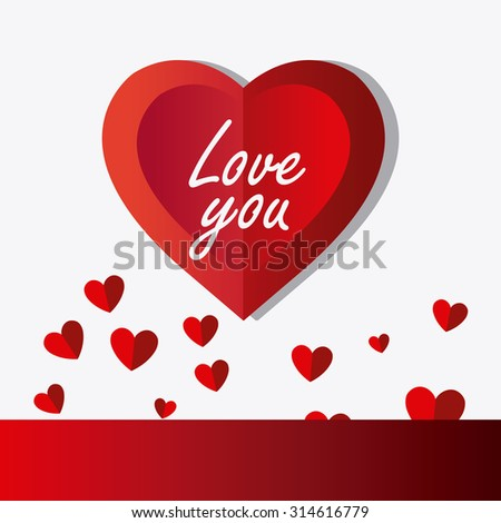 Love card design with hearts and red details, vector illustration.
