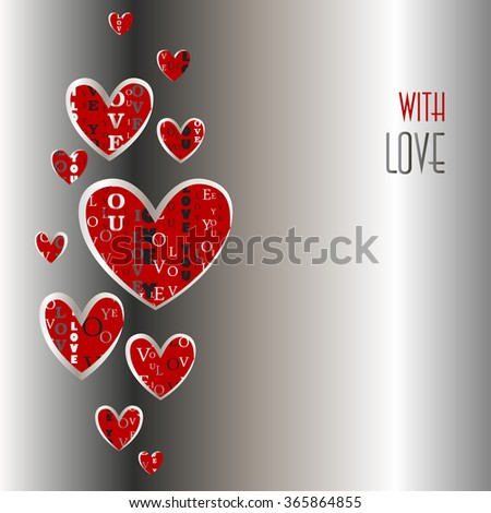 Love card. Valentines card template. Love background with red hearts on silver background. Heart shape with vertical I love you words typographic design. Valentine day background. Vector illustration. - stock vector