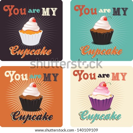 love card with cupcakes - stock vector