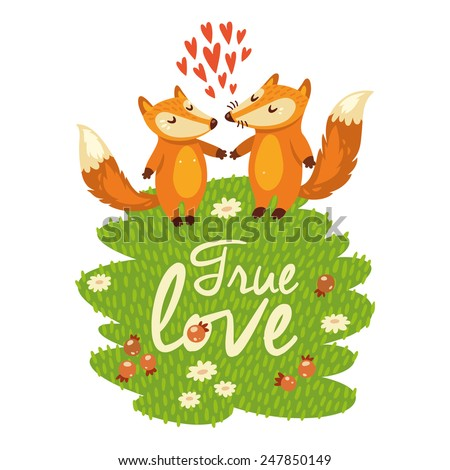Love card with cute foxes in vector - stock vector