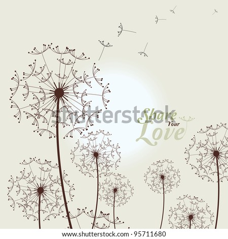 Love Card With Dandelions, SPA - stock vector