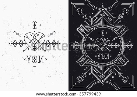 Love card with line romantic and abstract elements. Vector lines, heart, typography on black background with grunge texture. Hipster style - stock vector