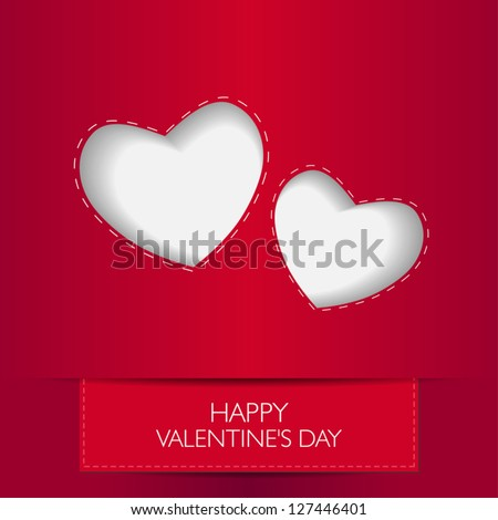 love card with text happy valentines day and heart shape with shadow vector