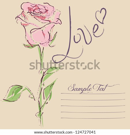 Love Card with vector stylized rose - stock vector