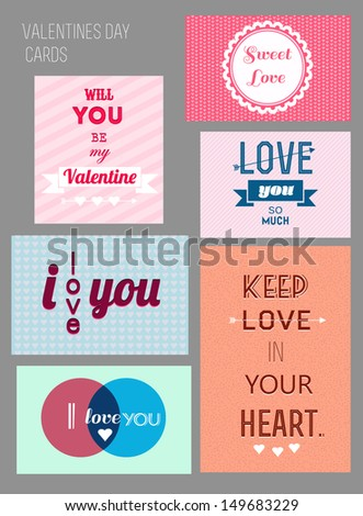 Love cards set - stock vector