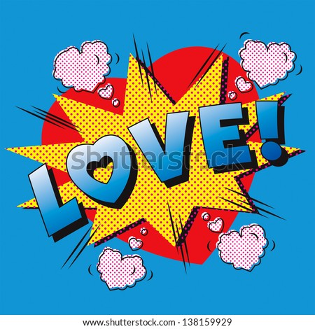 Love cartoon explosion. Falling in love. Love firework. Heart typography. - stock vector