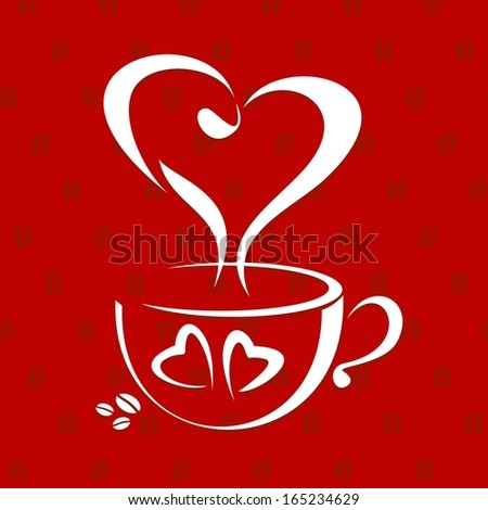 love coffee cup concept. Vector illustration - stock vector