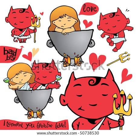 Love collection characters - stock vector