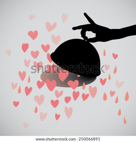 Love comes through the stomach / Silhouette of Valentine's meal    - stock vector