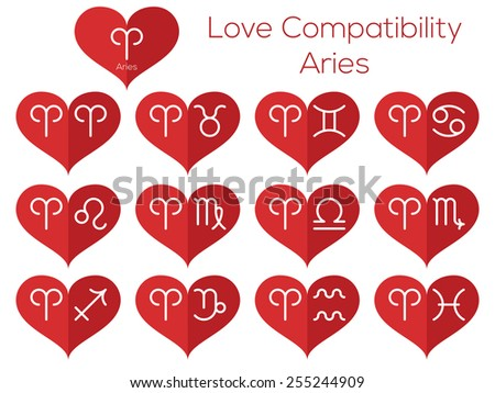Love compatibility - Aries. Astrological signs of the zodiac. Vector set of flat thin line icons in heart. - stock vector