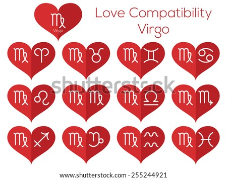 Love compatibility - Virgo. Astrological signs of the zodiac. Vector set of flat thin line icons in heart. - stock vector