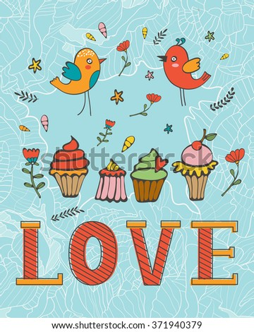 Love concept card with cupcakes and desserts - stock vector