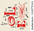 Love concept, grungy w. paint splatters - stock vector