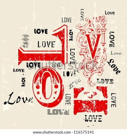 Love concept, grungy w. paint splatters - stock vector